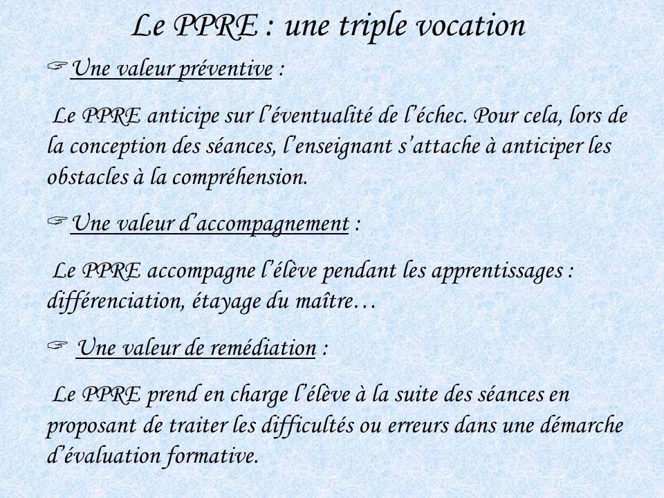 Le PPRE : une triple vocation Une valeur préventive : Le PPRE anticipe sur léventualité de léchec. Pour cela, lors de la conception des séances, lense