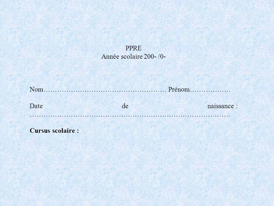 PPRE Année scolaire 200- /0- Nom……………………………………………… Prénom……………… Date de naissance : ……………………………………………………………………………. Cursus scolaire :
