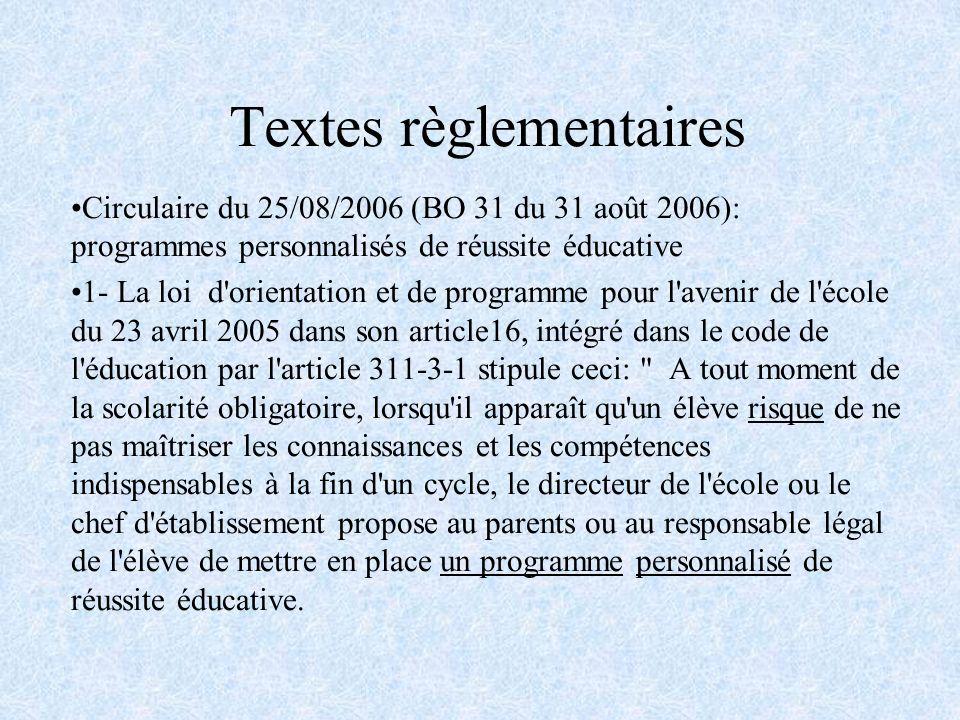 Textes règlementaires Circulaire du 25/08/2006 (BO 31 du 31 août 2006): programmes personnalisés de réussite éducative 1- La loi d'orientation et de p
