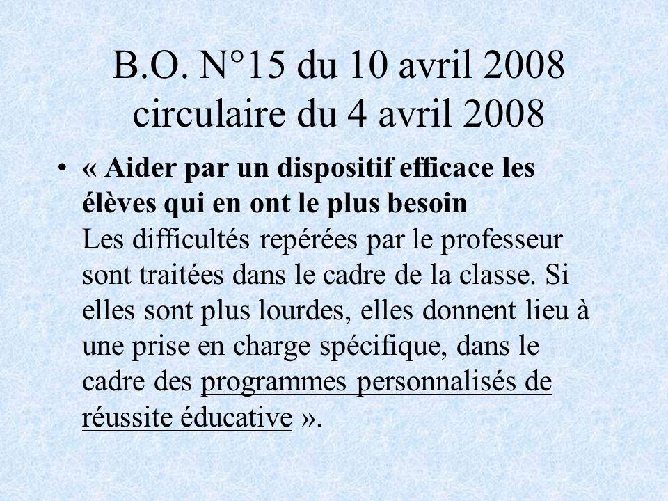 B.O. N°15 du 10 avril 2008 circulaire du 4 avril 2008 « Aider par un dispositif efficace les élèves qui en ont le plus besoin Les difficultés repérées