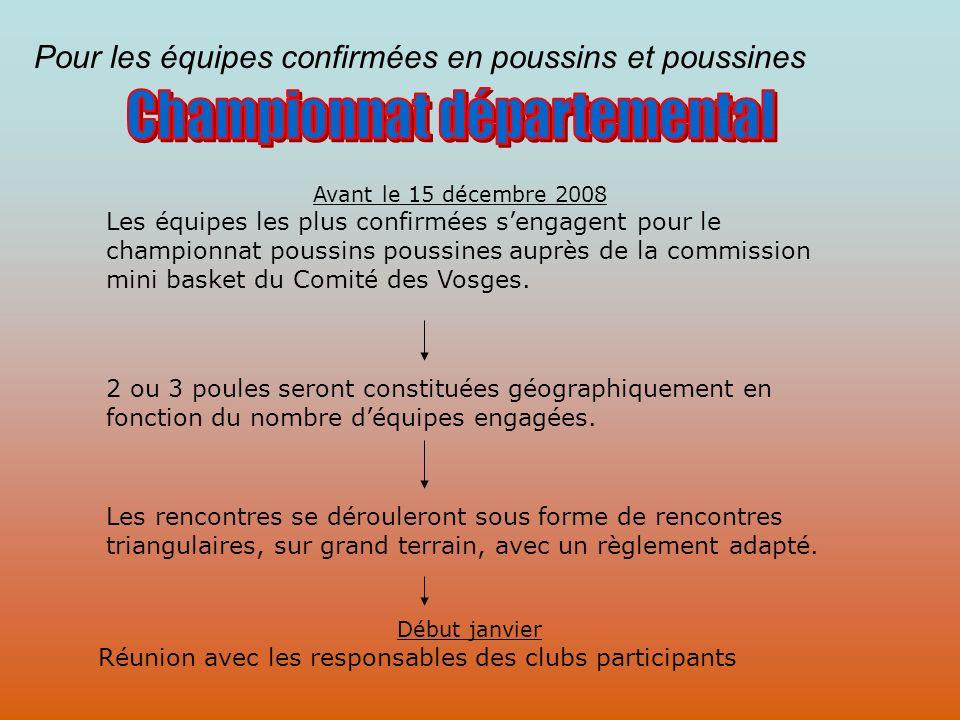 Pour les équipes confirmées en poussins et poussines Avant le 15 décembre 2008 Les équipes les plus confirmées sengagent pour le championnat poussins poussines auprès de la commission mini basket du Comité des Vosges.