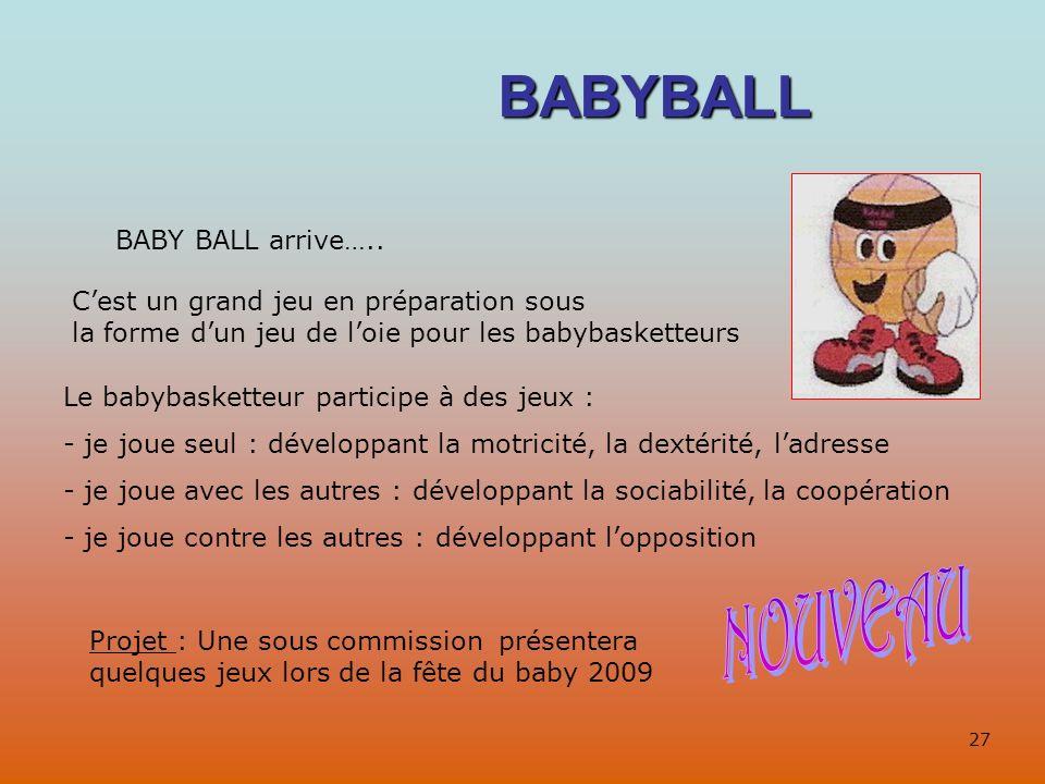 BABYBALL BABY BALL arrive….. Cest un grand jeu en préparation sous la forme dun jeu de loie pour les babybasketteurs Le babybasketteur participe à des