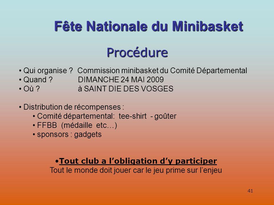 41 Procédure Qui organise .Commission minibasket du Comité Départemental Quand .