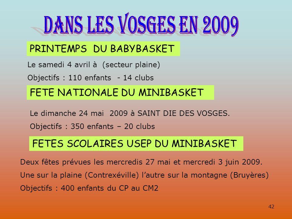 PRINTEMPS DU BABYBASKET Le samedi 4 avril à (secteur plaine) Objectifs : 110 enfants - 14 clubs FETE NATIONALE DU MINIBASKET Le dimanche 24 mai 2009 à