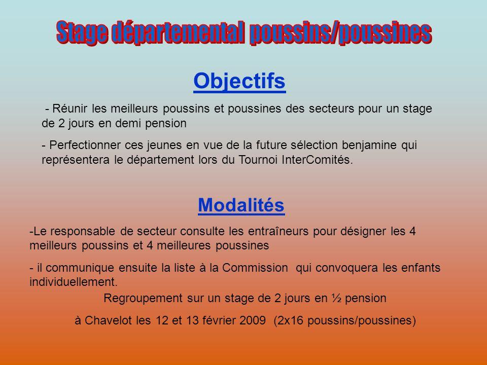 Regroupement sur un stage de 2 jours en ½ pension à Chavelot les 12 et 13 février 2009 (2x16 poussins/poussines) Objectifs - Réunir les meilleurs pous