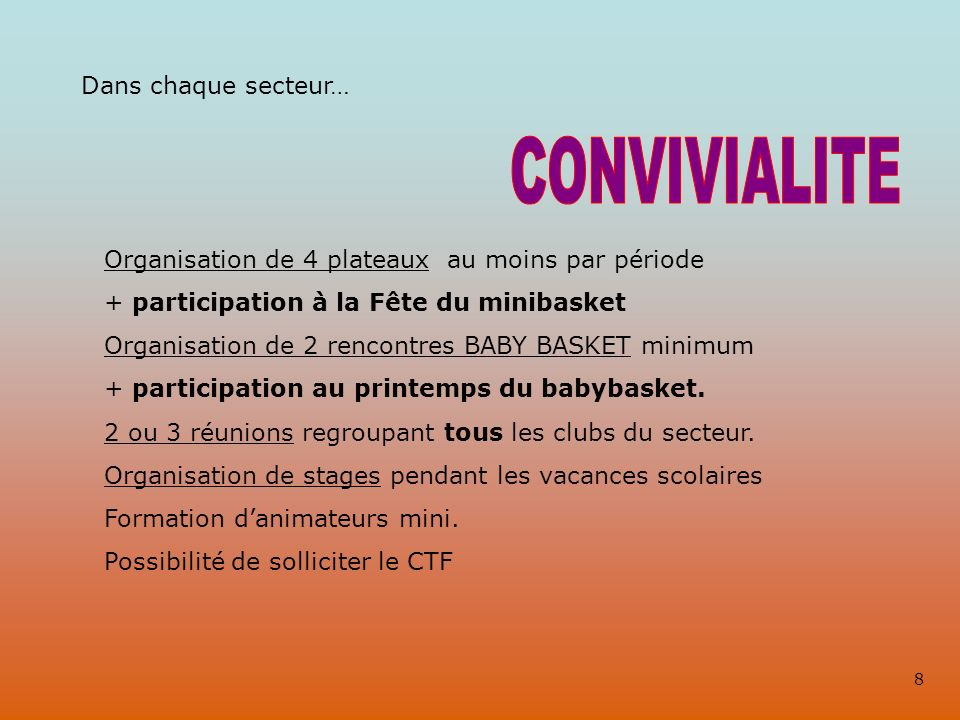 Dans chaque secteur… Organisation de 4 plateaux au moins par période + participation à la Fête du minibasket Organisation de 2 rencontres BABY BASKET minimum + participation au printemps du babybasket.