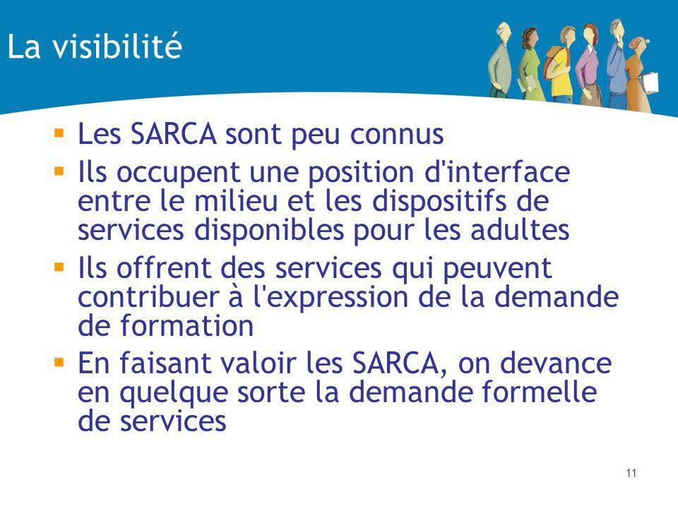 11 La visibilité Les SARCA sont peu connus Ils occupent une position d interface entre le milieu et les dispositifs de services disponibles pour les adultes Ils offrent des services qui peuvent contribuer à l expression de la demande de formation En faisant valoir les SARCA, on devance en quelque sorte la demande formelle de services