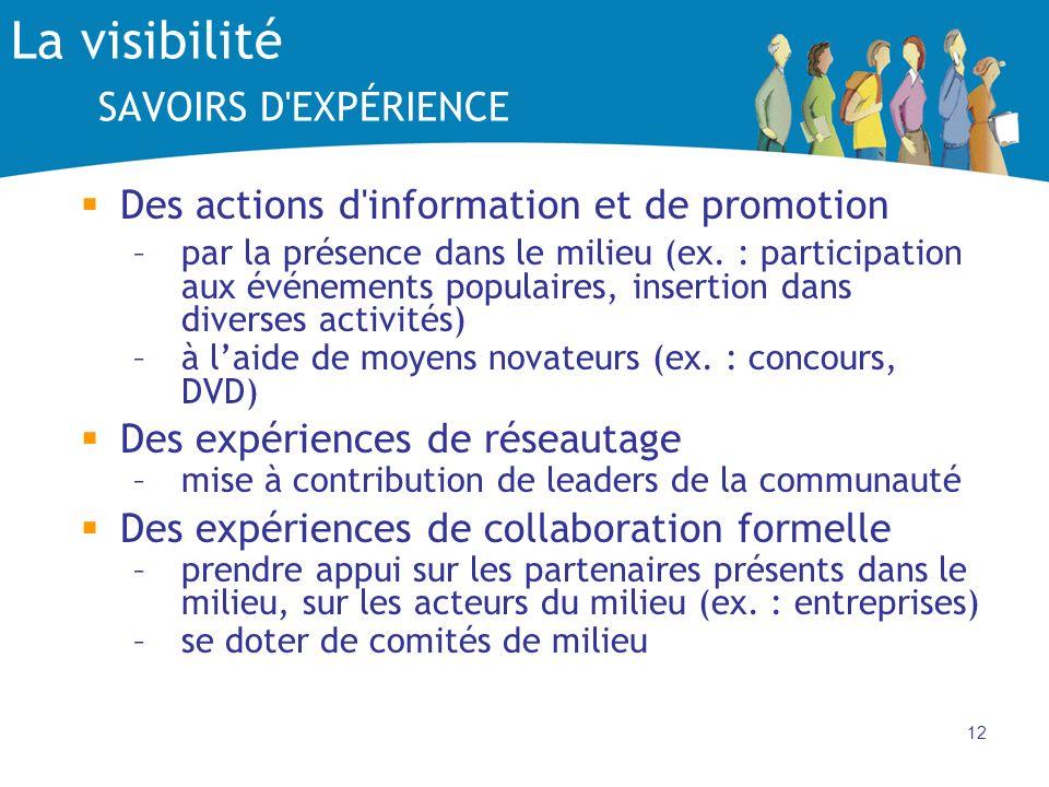 12 La visibilité SAVOIRS D'EXPÉRIENCE Des actions d'information et de promotion –par la présence dans le milieu (ex. : participation aux événements po
