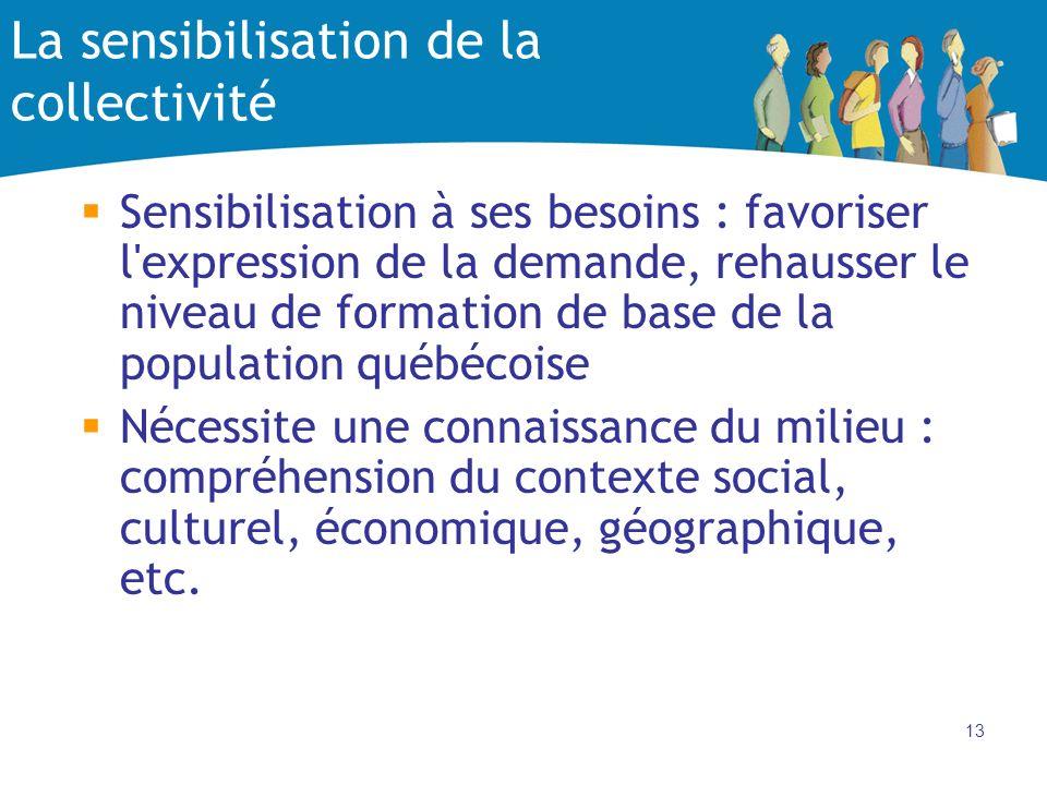 13 La sensibilisation de la collectivité Sensibilisation à ses besoins : favoriser l'expression de la demande, rehausser le niveau de formation de bas