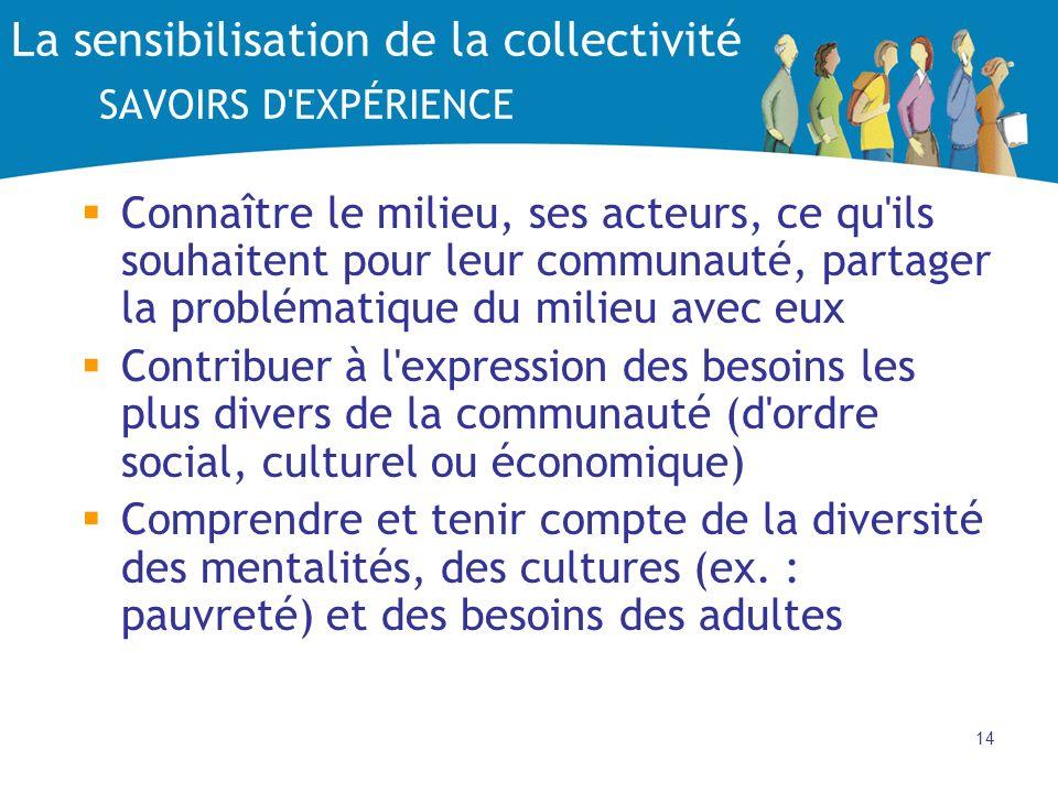 14 La sensibilisation de la collectivité SAVOIRS D'EXPÉRIENCE Connaître le milieu, ses acteurs, ce qu'ils souhaitent pour leur communauté, partager la