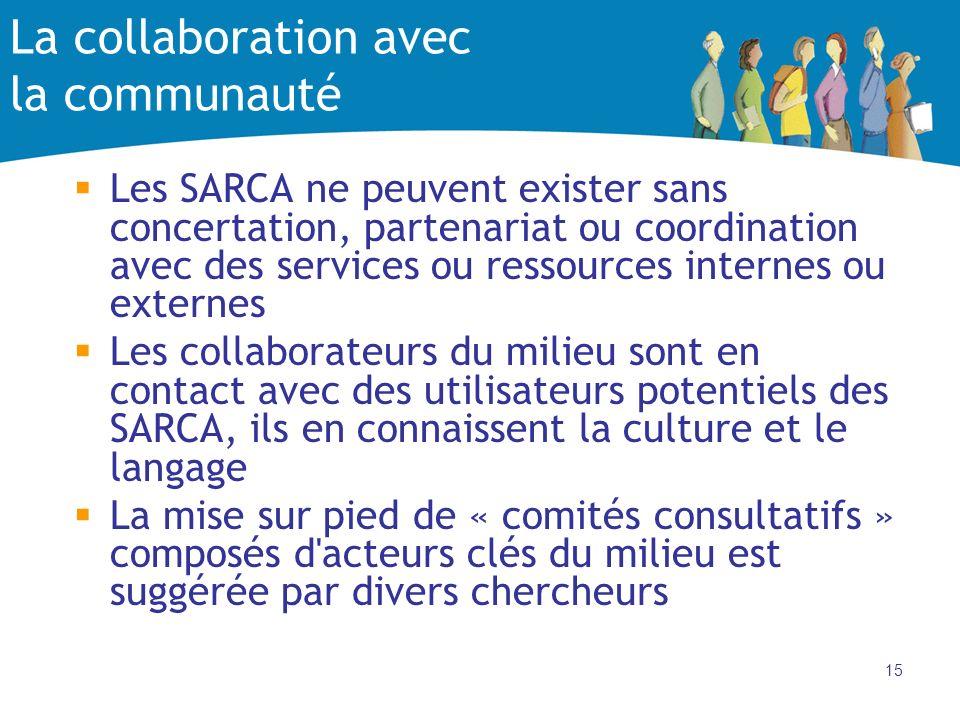 15 La collaboration avec la communauté Les SARCA ne peuvent exister sans concertation, partenariat ou coordination avec des services ou ressources int