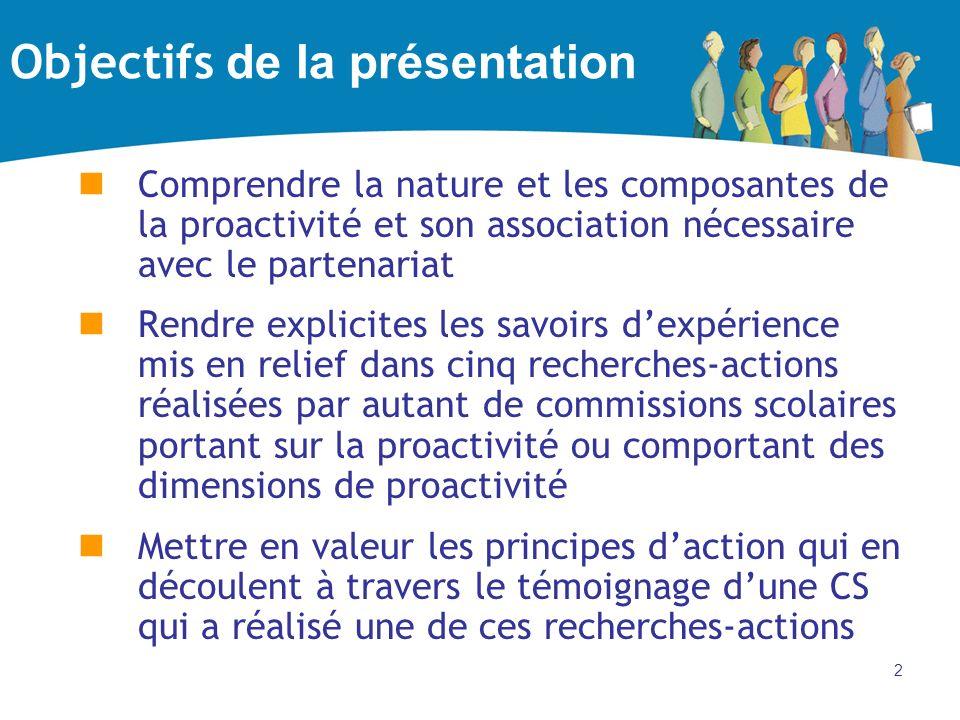 2 Objectifs de la présentation Comprendre la nature et les composantes de la proactivité et son association nécessaire avec le partenariat Rendre expl