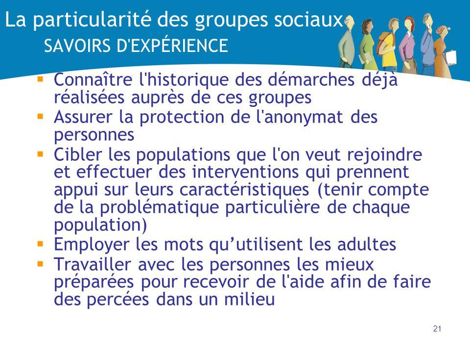 21 La particularité des groupes sociaux SAVOIRS D'EXPÉRIENCE Connaître l'historique des démarches déjà réalisées auprès de ces groupes Assurer la prot