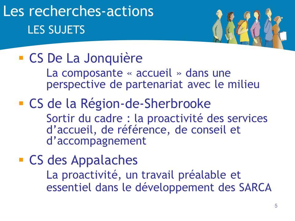 5 Les recherches-actions LES SUJETS CS De La Jonquière La composante « accueil » dans une perspective de partenariat avec le milieu CS de la Région-de