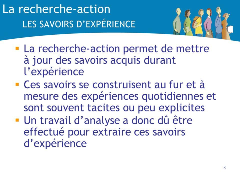 8 La recherche-action LES SAVOIRS DEXPÉRIENCE La recherche-action permet de mettre à jour des savoirs acquis durant lexpérience Ces savoirs se constru