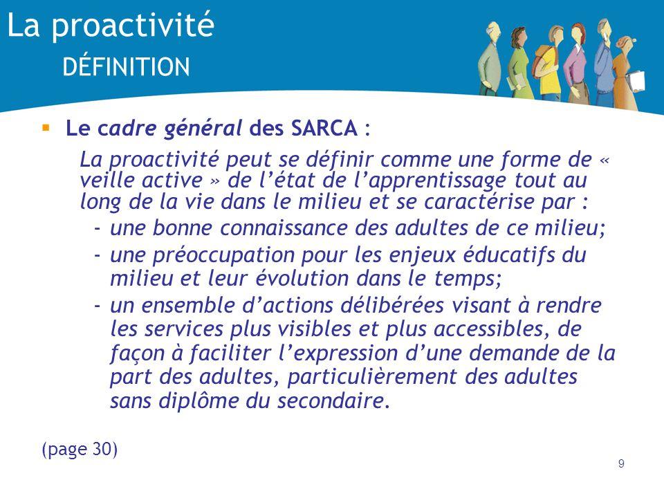 9 La proactivité DÉFINITION Le cadre général des SARCA : La proactivité peut se définir comme une forme de « veille active » de létat de lapprentissage tout au long de la vie dans le milieu et se caractérise par : -une bonne connaissance des adultes de ce milieu; -une préoccupation pour les enjeux éducatifs du milieu et leur évolution dans le temps; -un ensemble dactions délibérées visant à rendre les services plus visibles et plus accessibles, de façon à faciliter lexpression dune demande de la part des adultes, particulièrement des adultes sans diplôme du secondaire.