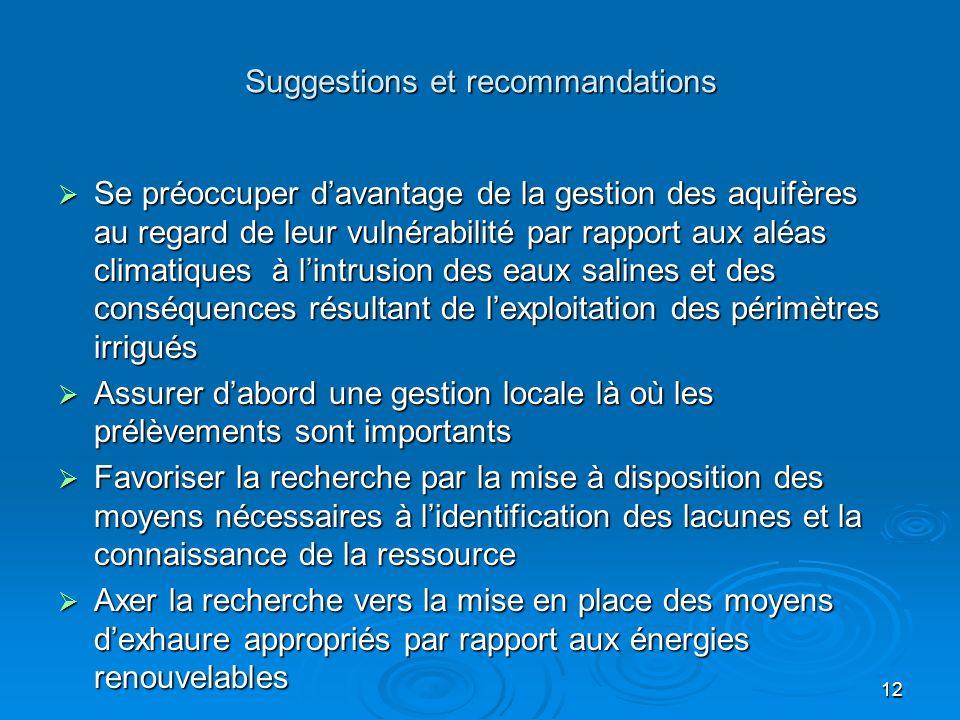 12 Suggestions et recommandations Se préoccuper davantage de la gestion des aquifères au regard de leur vulnérabilité par rapport aux aléas climatique