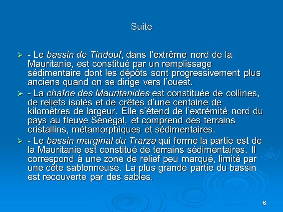 6 Suite - Le bassin de Tindouf, dans lextrême nord de la Mauritanie, est constitué par un remplissage sédimentaire dont les dépôts sont progressivemen