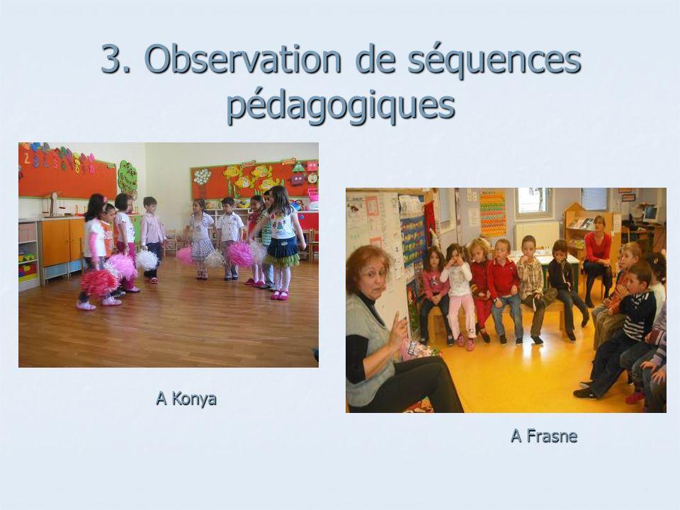 3. Observation de séquences pédagogiques A Konya A Frasne