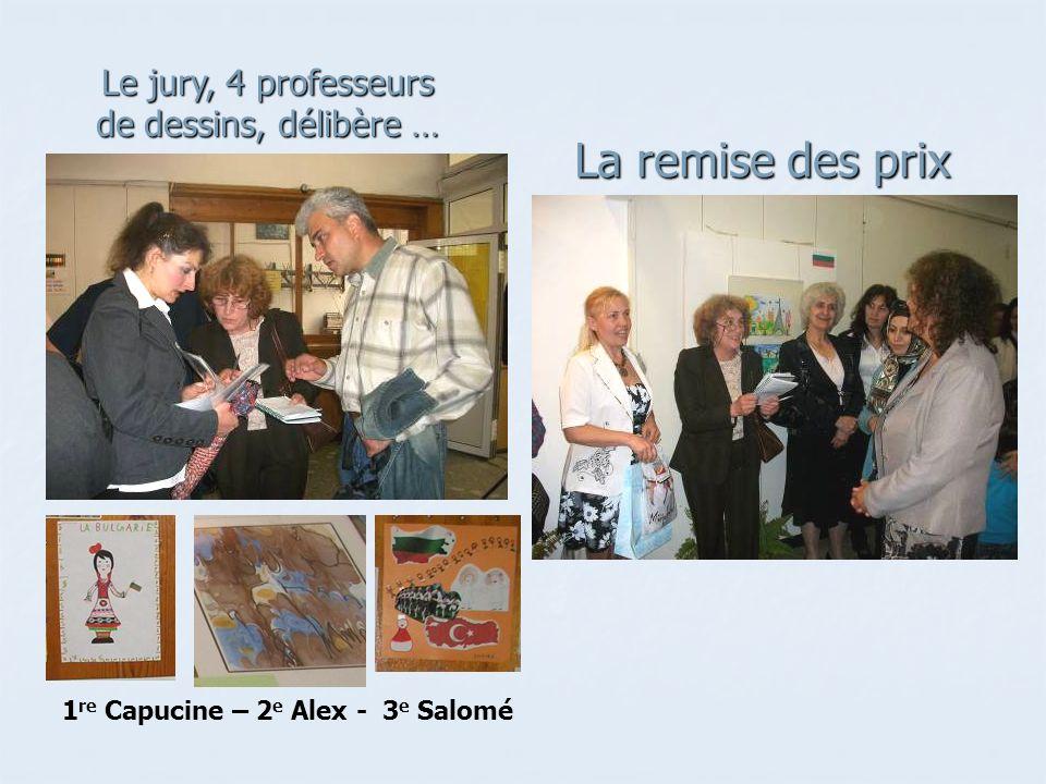 La remise des prix Le jury, 4 professeurs de dessins, délibère … 1 re Capucine – 2 e Alex - 3 e Salomé