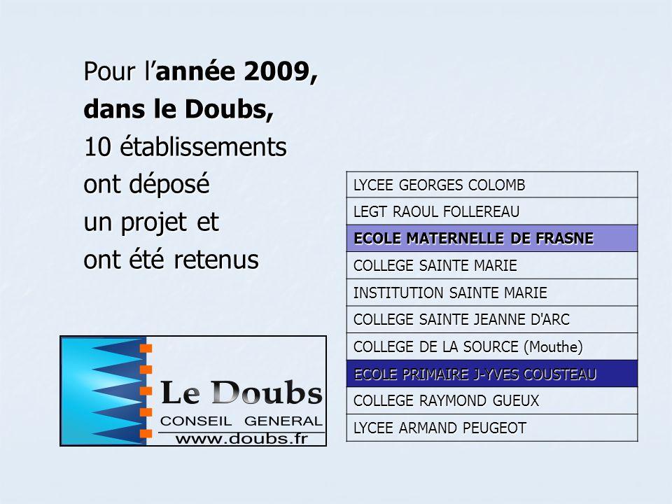 Pour lannée 2009, dans le Doubs, 10 établissements ont déposé un projet et ont été retenus LYCEE GEORGES COLOMB LEGT RAOUL FOLLEREAU ECOLE MATERNELLE DE FRASNE COLLEGE SAINTE MARIE INSTITUTION SAINTE MARIE COLLEGE SAINTE JEANNE D ARC COLLEGE DE LA SOURCE (Mouthe) ECOLE PRIMAIRE J-YVES COUSTEAU COLLEGE RAYMOND GUEUX LYCEE ARMAND PEUGEOT