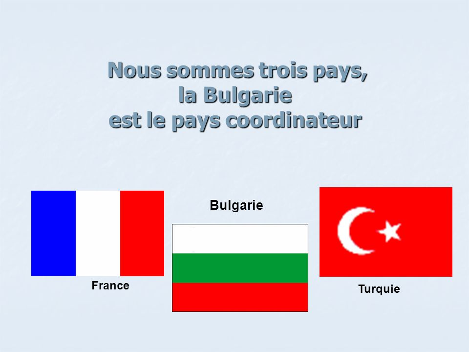Nous sommes trois pays, la Bulgarie est le pays coordinateur Nous sommes trois pays, la Bulgarie est le pays coordinateur Bulgarie Turquie France