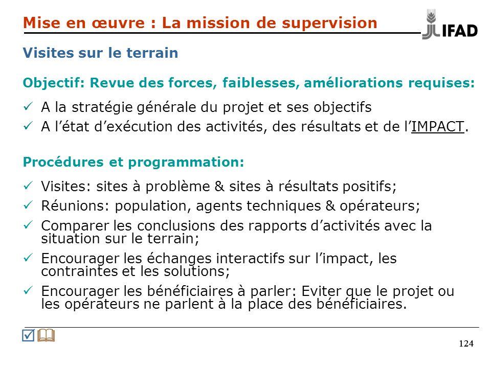 124 Objectif: Revue des forces, faiblesses, améliorations requises: A la stratégie générale du projet et ses objectifs A létat dexécution des activités, des résultats et de lIMPACT.