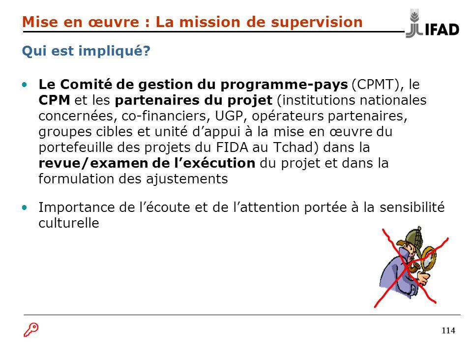 114 Le Comité de gestion du programme-pays (CPMT), le CPM et les partenaires du projet (institutions nationales concernées, co-financiers, UGP, opérat