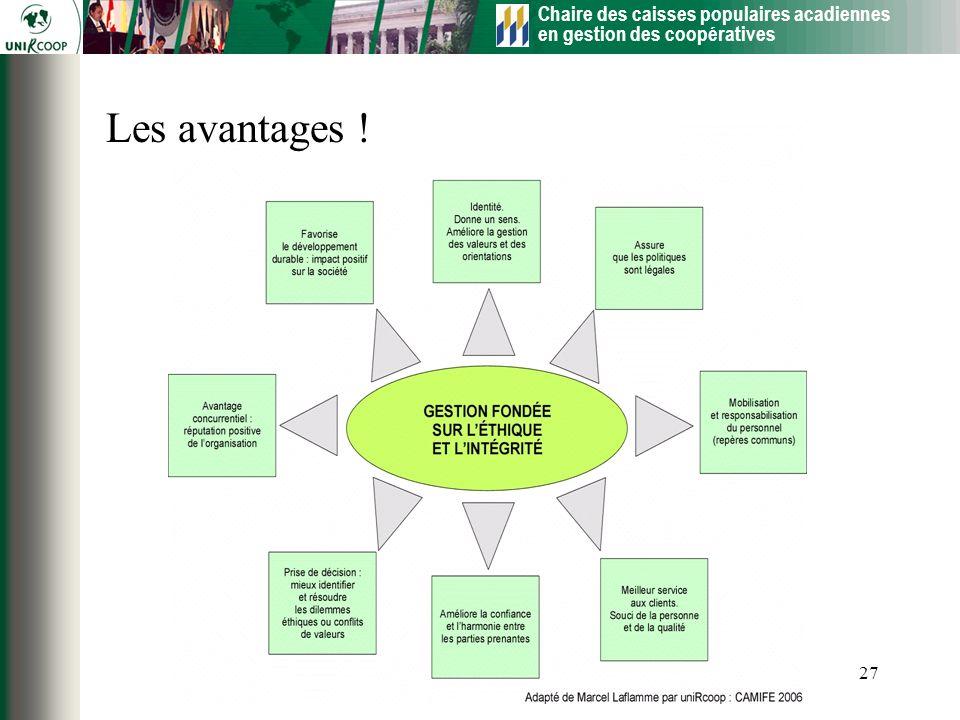 Chaire des caisses populaires acadiennes en gestion des coopératives 27 Les avantages !