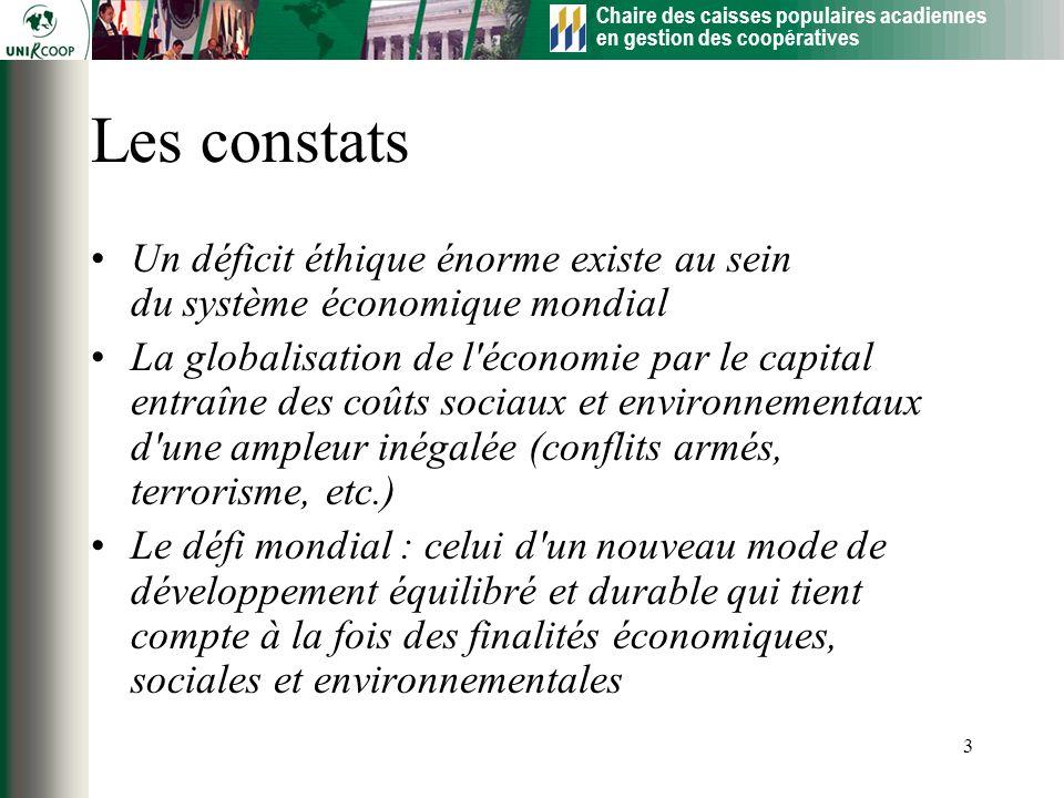 Chaire des caisses populaires acadiennes en gestion des coopératives 3 Les constats Un déficit éthique énorme existe au sein du système économique mon