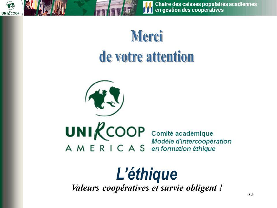 Chaire des caisses populaires acadiennes en gestion des coopératives 32 Valeurs coopératives et survie obligent ! Léthique