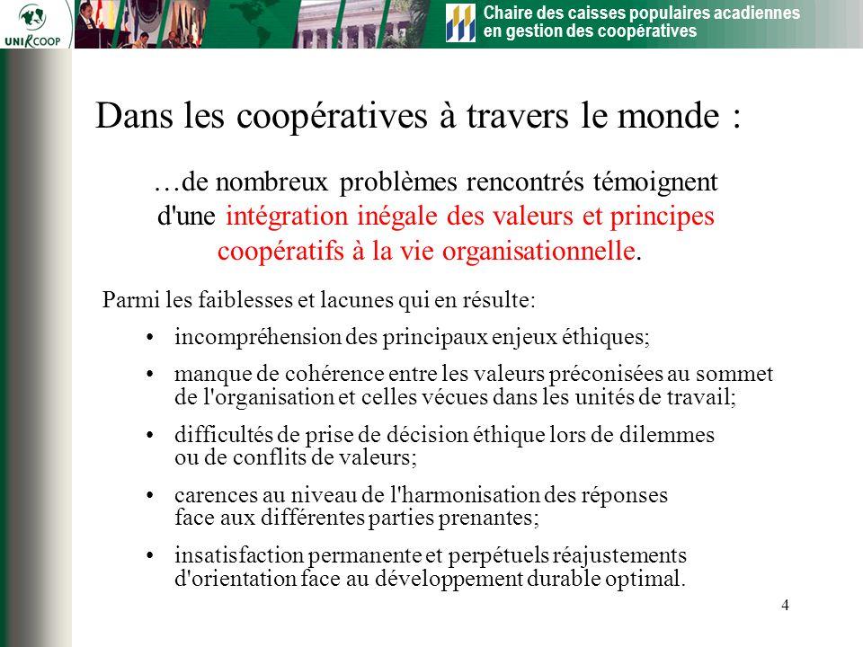 Chaire des caisses populaires acadiennes en gestion des coopératives 4 …de nombreux problèmes rencontrés témoignent d'une intégration inégale des vale