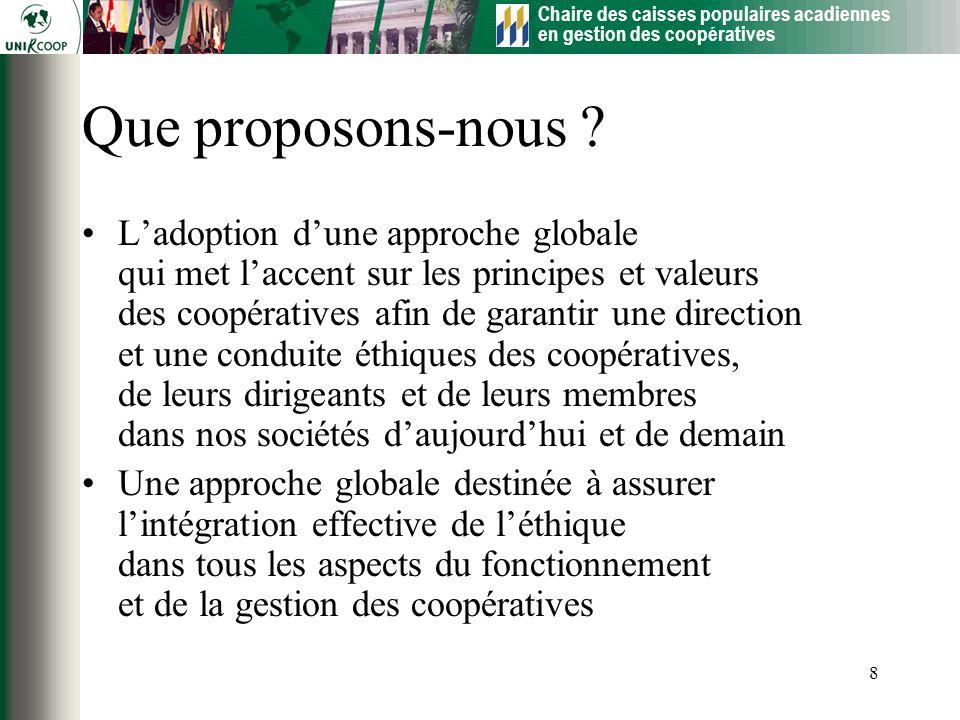 Chaire des caisses populaires acadiennes en gestion des coopératives 8 Que proposons-nous ? Ladoption dune approche globale qui met laccent sur les pr