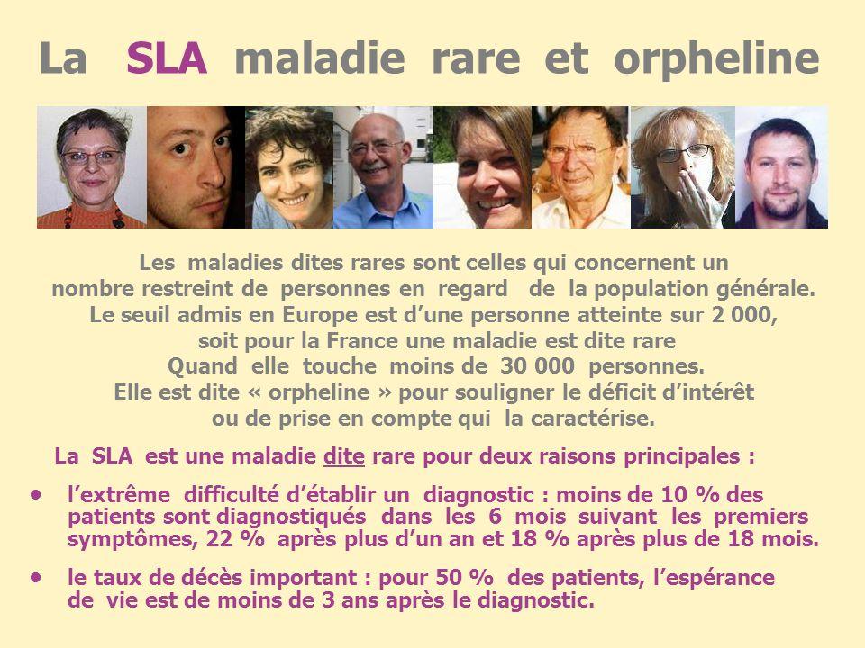 la S L A en chiffres Maladie majoritairement sporadique (5 à 10 % de formes familiales). Maladie aussi fréquente que la Sclérose En Plaques(avec laque