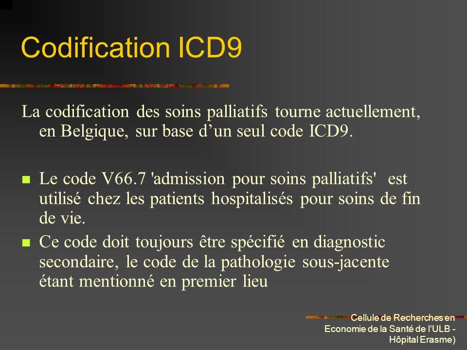 Cellule de Recherches en Economie de la Santé de lULB - Hôpital Erasme) Codification ICD9 La codification des soins palliatifs tourne actuellement, en