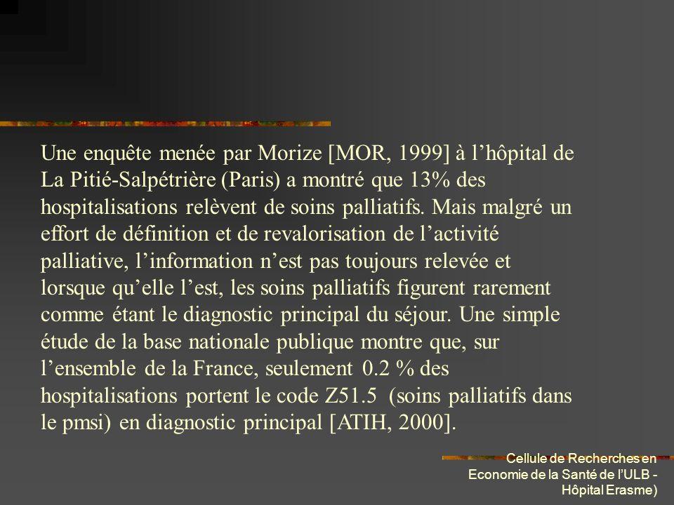 Cellule de Recherches en Economie de la Santé de lULB - Hôpital Erasme) Une enquête menée par Morize [MOR, 1999] à lhôpital de La Pitié-Salpétrière (P