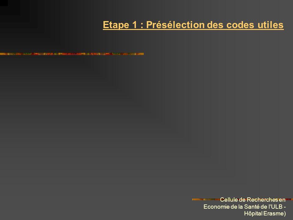 Cellule de Recherches en Economie de la Santé de lULB - Hôpital Erasme) Etape 1 : Présélection des codes utiles