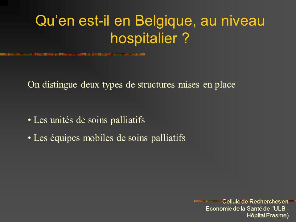 Cellule de Recherches en Economie de la Santé de lULB - Hôpital Erasme) Quen est-il en Belgique, au niveau hospitalier ? On distingue deux types de st