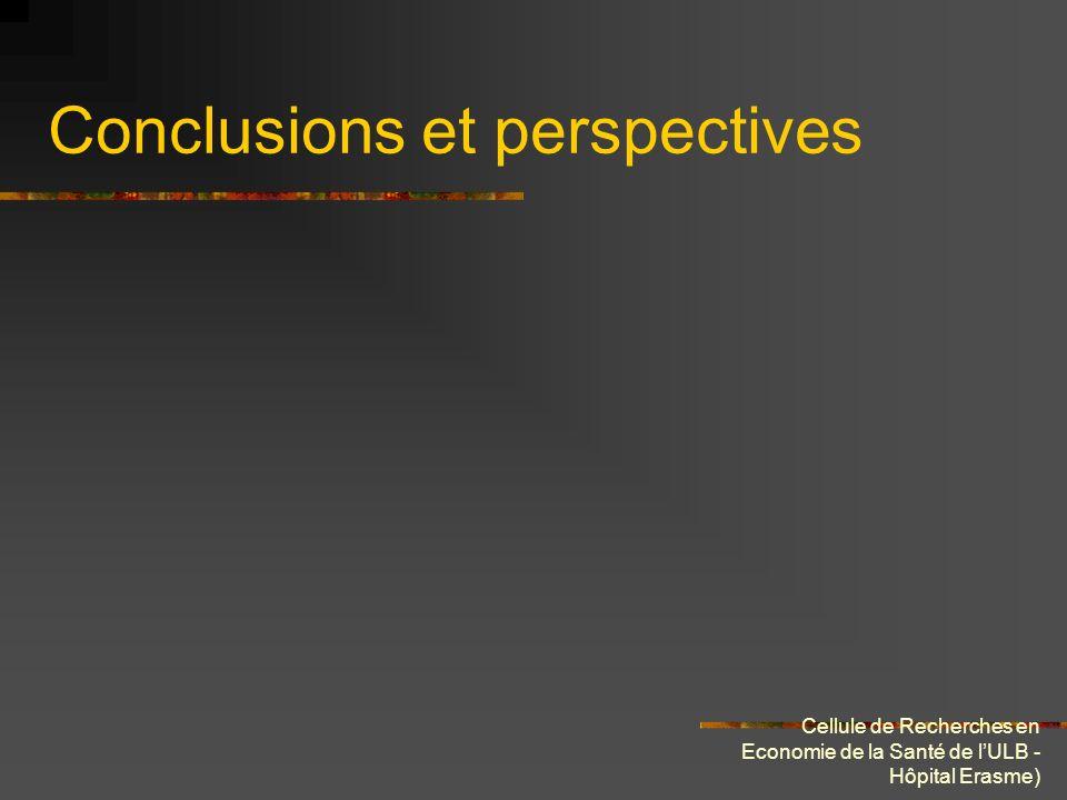 Cellule de Recherches en Economie de la Santé de lULB - Hôpital Erasme) Conclusions et perspectives
