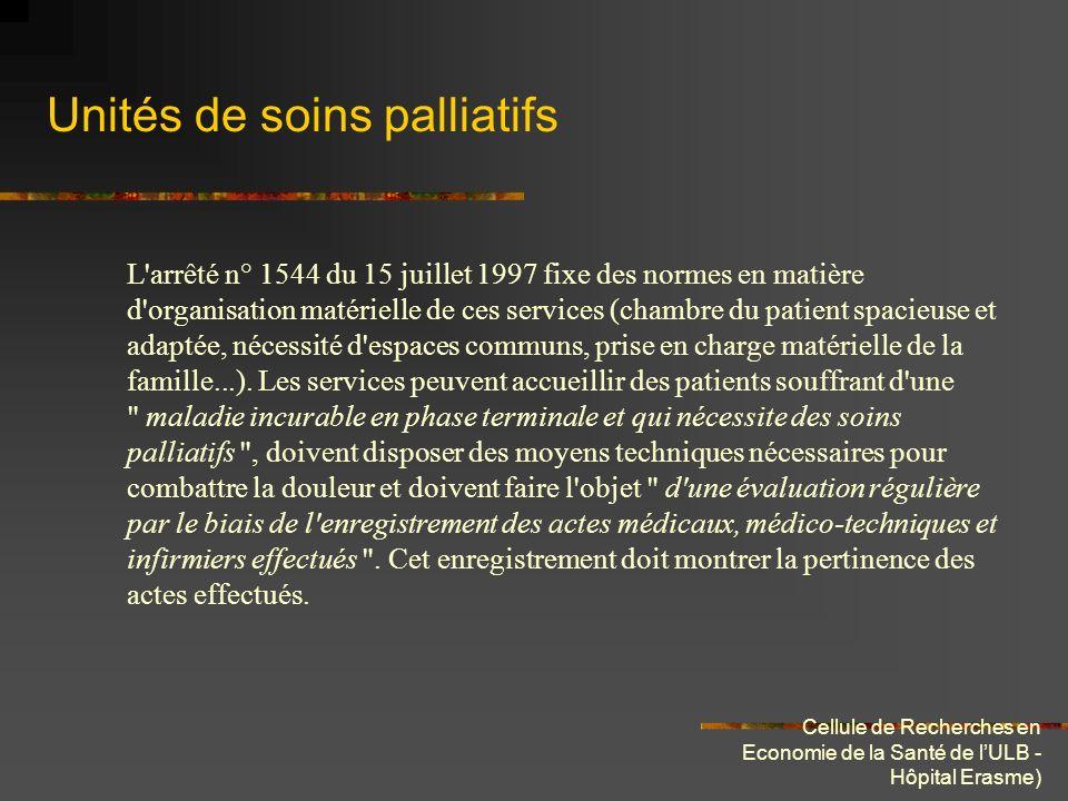 Cellule de Recherches en Economie de la Santé de lULB - Hôpital Erasme) Unités de soins palliatifs L'arrêté n° 1544 du 15 juillet 1997 fixe des normes