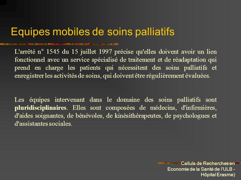Cellule de Recherches en Economie de la Santé de lULB - Hôpital Erasme) Equipes mobiles de soins palliatifs L'arrêté n° 1545 du 15 juillet 1997 précis