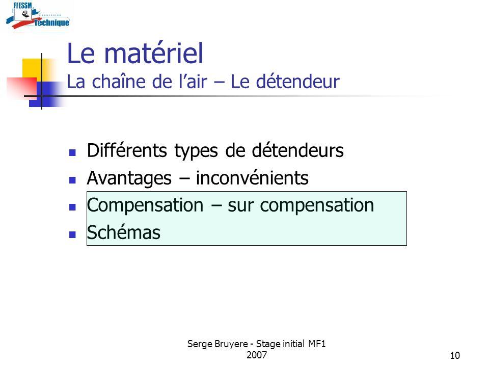 Serge Bruyere - Stage initial MF1 200710 Le matériel La chaîne de lair – Le détendeur Différents types de détendeurs Avantages – inconvénients Compens