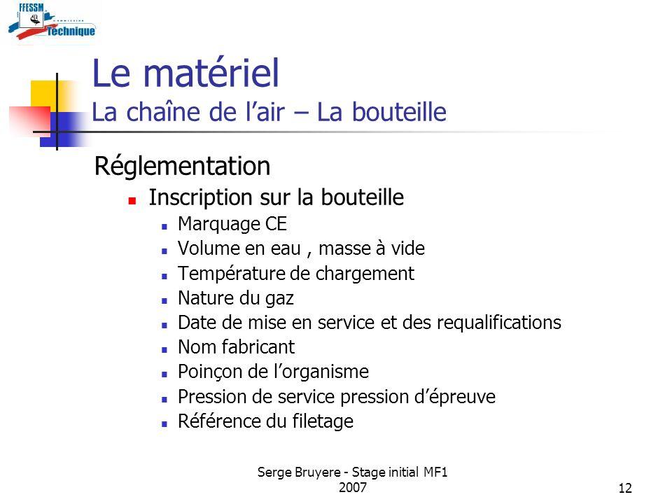 Serge Bruyere - Stage initial MF1 200712 Le matériel La chaîne de lair – La bouteille Réglementation Inscription sur la bouteille Marquage CE Volume e