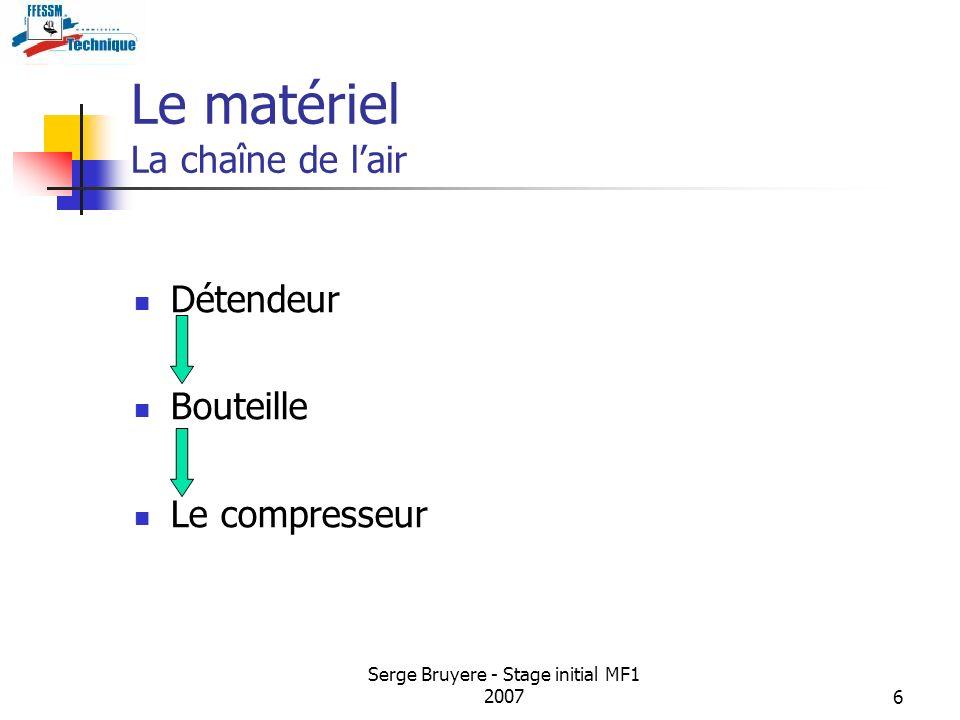 Serge Bruyere - Stage initial MF1 20076 Le matériel La chaîne de lair Détendeur Bouteille Le compresseur