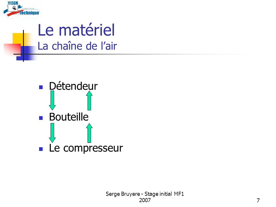Serge Bruyere - Stage initial MF1 20077 Le matériel La chaîne de lair Détendeur Bouteille Le compresseur