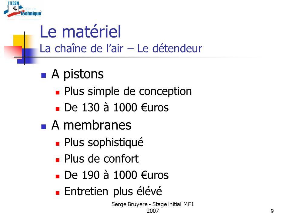 Serge Bruyere - Stage initial MF1 20079 Le matériel La chaîne de lair – Le détendeur A pistons Plus simple de conception De 130 à 1000 uros A membrane
