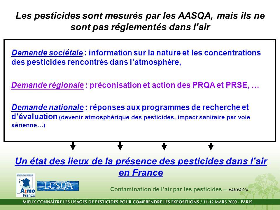 Les pesticides sont mesurés par les AASQA, mais ils ne sont pas réglementés dans lair Demande nationale : réponses aux programmes de recherche et déva