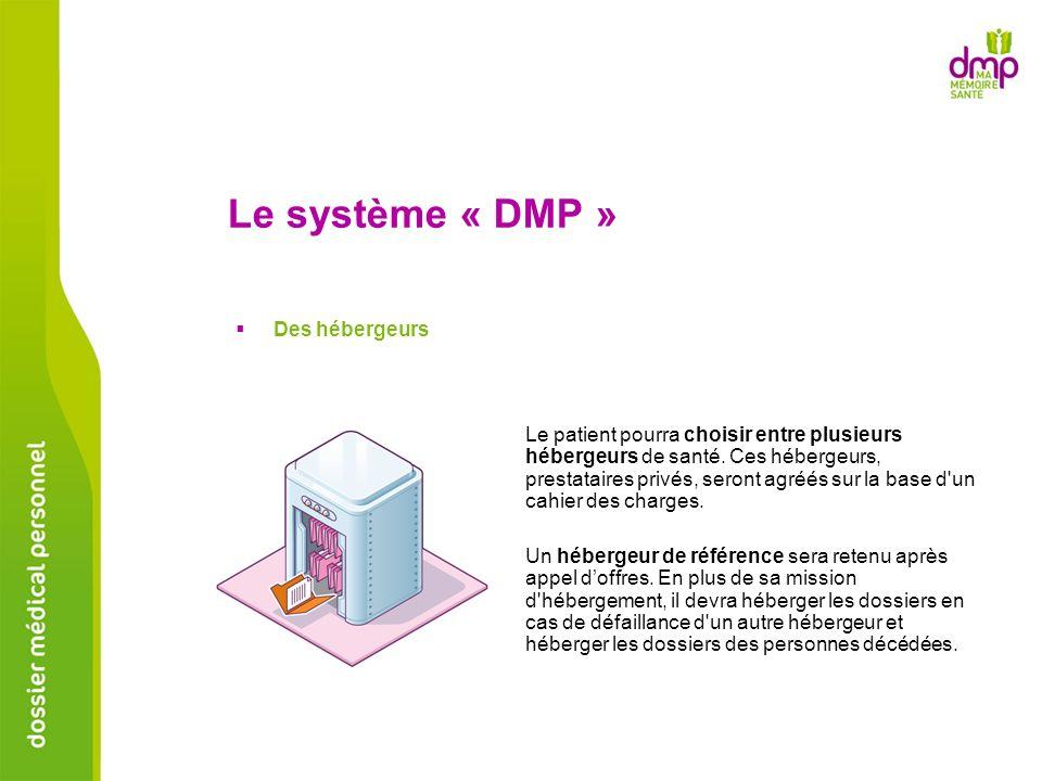 Le système « DMP » Des hébergeurs Le patient pourra choisir entre plusieurs hébergeurs de santé. Ces hébergeurs, prestataires privés, seront agréés su