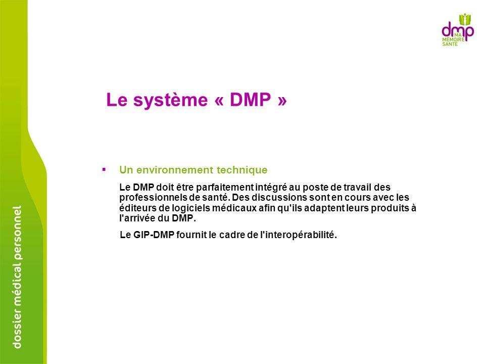 Le système « DMP » Un environnement technique Le DMP doit être parfaitement intégré au poste de travail des professionnels de santé. Des discussions s