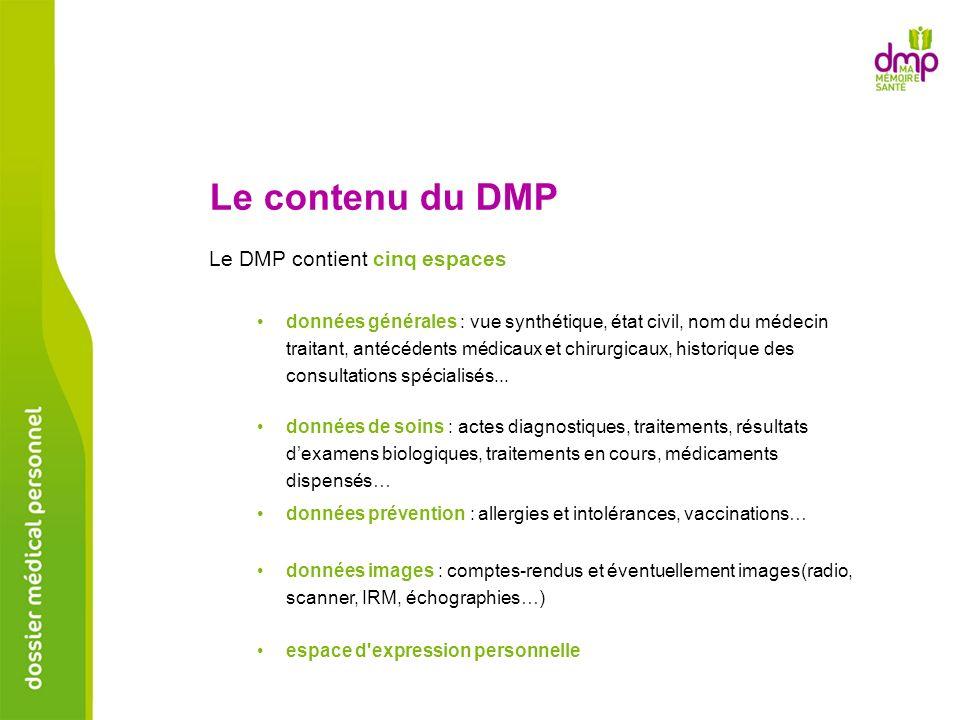 Le DMP contient cinq espaces Le contenu du DMP données générales : vue synthétique, état civil, nom du médecin traitant, antécédents médicaux et chiru